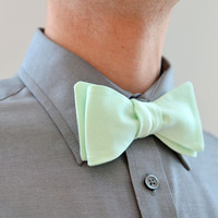 Men's Bow Tie in Mint Green- freestyle wedding groomsmen custom bowtie neck self tie cotton pique wale