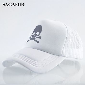 Trendy Winter Jacket Skulls Print Cap For Boy Girls Breathable Mesh Baseball Hat Men Outdoor Casual Snapback Quality Trucker Cap Summer   AT_92_12