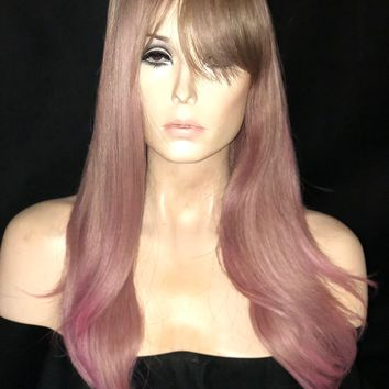 Dirty Blonde & Pastel Pink Soft Curl Human Hair Blend Wig