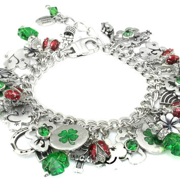 Shamrock Jewelry - Luck of the Irish- Celtic Jewelry - Shamrock Bracelet - Emerald Crystal Clover - Lucky Charm Bracelet