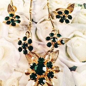 Emerald Green Rhinestone Floral Necklace, Choker, Matching Earrings, Demi-Parue, Vintage Jewelry, 1940's, Art Moderne, Vintage Jewelry Set