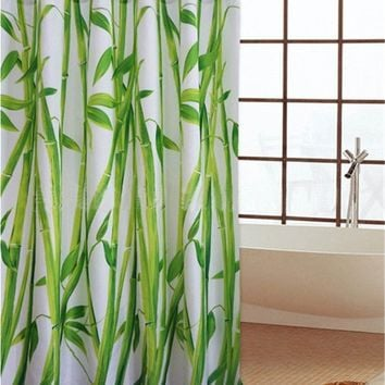 Waterproof Bathroom Fabric Shower Curtain Bamboo Tree Natural Landscape 12 Hooks