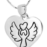 """Sterling Silver """"Believe"""" Reversible Heart with Angel Pendant Necklace , 18"""""""