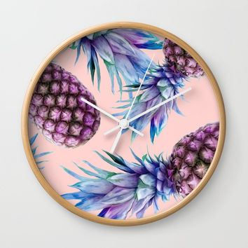 Purple Pineapple's on Coral Wall Clock by fashionillustrateduk