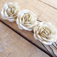 Beige Rose Wedding Hair Pins, Beige Bridal Hair Pins, Hair Accessories, Satin Hair Pins, Bridesmaid Hair, Woodland - Set of 3