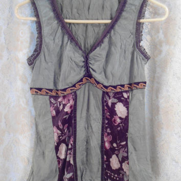Size XS/Small Vintage Upcycled Tank Top Hippie Boho Style Clothes 70's 80's 90's Style Clothing