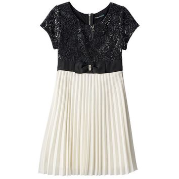 My Michelle Metallic Lace Chiffon Dress - Girls