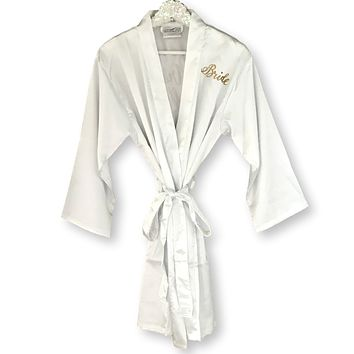 PERSONALIZED SATIN BRIDE KIMONO ROBE GIFT SET WITH GOLD OR SILVER