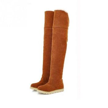 Women Autumn Winter Boots Flat Bottom Boots Over The Knee Thigh High Long Boots Shoes