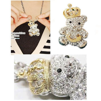 GIRLS GOLD CROWN CUTE LITTLE BEAR FULL CRYSTALS VINTAGE NECKLACE PENDANT