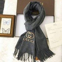 GUCCI  Fashion Women Men Leisure Embroidery Logo Letter Accessories Cape Scarves Scarf(3-Color) Grey I-TMWJ-XDH