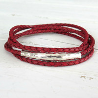 Red Leather Wrap Bracelet with Hill Tribe Silver / Womens Leather Bracelet / Boho Wrap Bracelet / Bali Sterling Silver / Gifts for Her Red