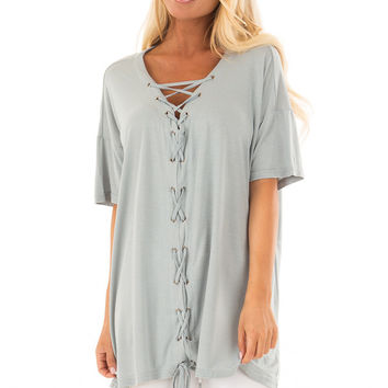 Dusty Blue V Neck Loose Fit Top with Lace Up Front