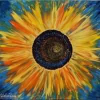 Original Large Acrylic Sunflower Painting, Palette Knife, Textured, Modern Art: Sun, Flower, Yellow, Sunflower