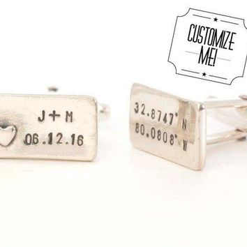 Personalized Longitude and Latitude Initials and Date Cufflinks