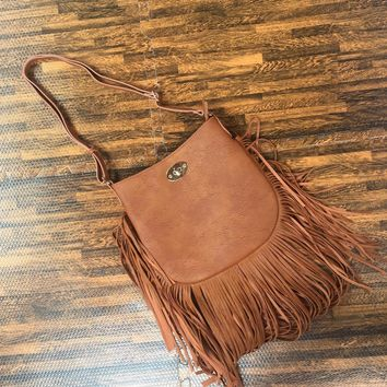 Faux Leather Fringe Tan Hand Bag