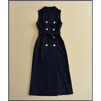 Double Breasted Navy Blue Mid Calf Dress Luxury Women Dresses