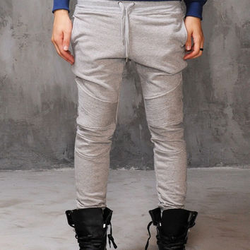 Stretch Pintuck Biker Skinny Jersey Pants  / Sports Casual Pants