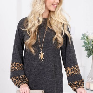 Cozy Grey Leopard Tunic