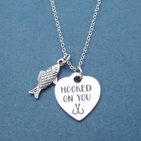HOOKED ON YOU, Fish, Silver, Necklace, Heart, Love, Jewelry, Lovers, Best friends, Birthday, Gift, Jewelry