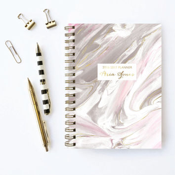 2016 Planner | Personalized Planner | Choose Start Month | Monogram Planner | Weekly Planner | 2016 Agenda | Marble | Custom Planner