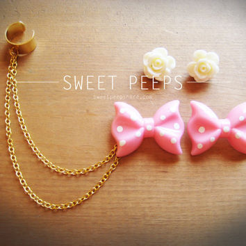Pink Polka Dot and White Rose Flower Stud Gold Ear Cuff Set