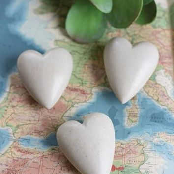 Set Of 6 Hand Carved Stone Hearts - Light Grey