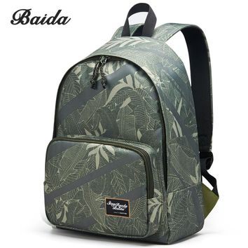 BAIDA High Quality Canvas Backpack Men Notebook Laptop Printing Bags Youth School Student Cool Rucksack For Teenagers Boys Bolsa