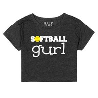 Softball Crop Top Softball Gurl Girl Tee-Heather Onyx T-Shirt