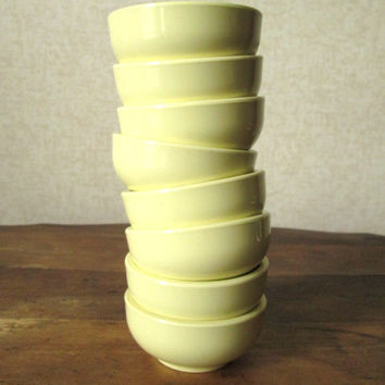 Melamine Cups small prep bowls condiments sauces party favors lot of 8 lemon yellow melmac dishes vintage 60s Mad Men kitchen decor SiLite