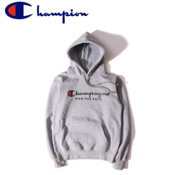 Unisex Lovers' Gray Champion Printed Long Sleeve Hoodies Pullovers