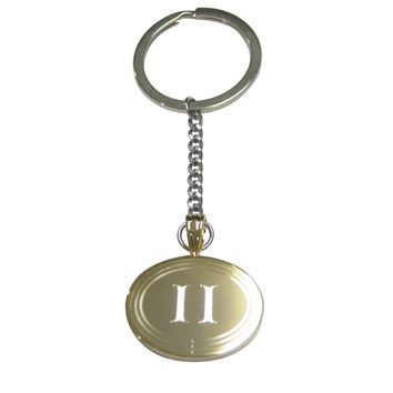 Gold Toned Etched Oval Letter H Monogram Pendant Keychain