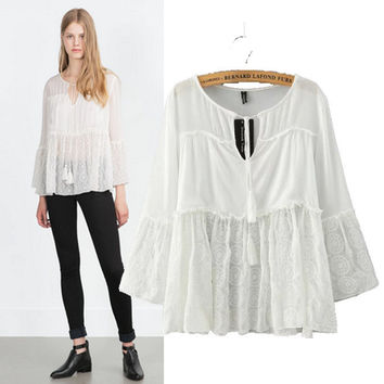 Stylish Round-neck Lace Patchwork Pullover Women's Fashion Tops Shirt [5013296388]