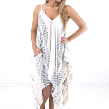 Women's Embroidered Tank Caftan with Pockets