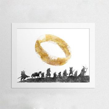 The Lord Of The Rings Canvas Art Print and Poster , Watercolor Fellowship Of The Ring Elvish Circle Canvas Printing Wall Picture