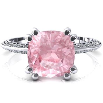 Nancy Cushion Pink Sapphire 4 Double Prong 1/2 Eternity Diamond Knife Shank Accent Engagement Ring
