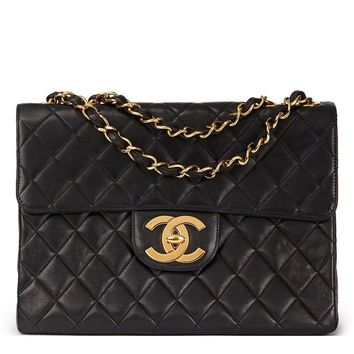 CHANEL BLACK QUILTED LAMBSKIN VINTAGE JUMBO XL FLAP BAG HB1549