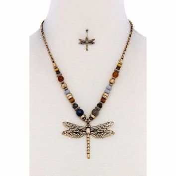 Fashion Bead Dragonfly Pendant Necklace And Earring Set