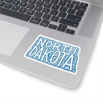 North Dakota State Shape Sticker Decal - Blue