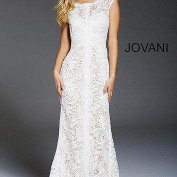 Jovani - 54477 Lace Cap Sleeve Bateau Sheath Evening Dress