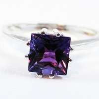 Princess Cut Amethyst Sterling Silver Ring