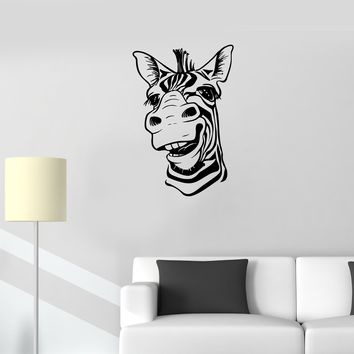 Wall Decal Zebra Head Animal Africa Cool Smile Vinyl Sticker (ed1123)