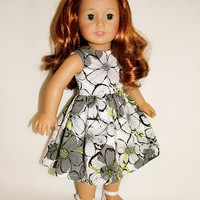 "American Girl Clothes and 18"" Doll White Black Flower Dress"