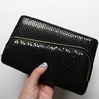 Vintage Black Metal Mesh Clutch Handbag Purse 1980s