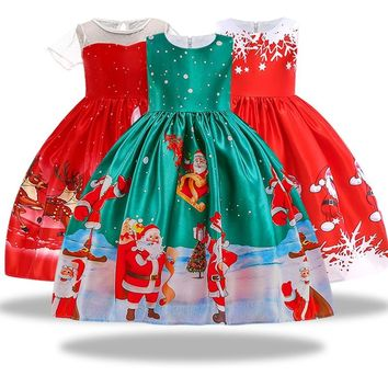 New Year Girl Christmas Dress Baby Winter Snowman Holiday Children Clothing Party Kids Santa Claus Costume Gift 3-10 years old