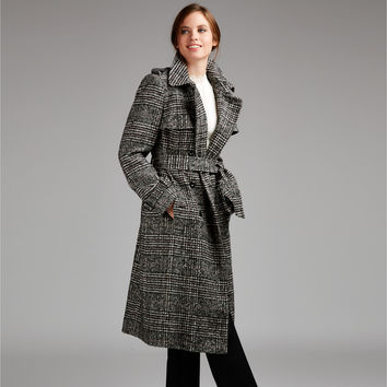 Prince of Wales Check Tailored Trench Coat