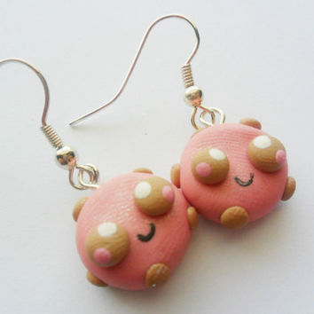 Polymer Clay Kawaii Pink Cookie Earrings by KawaiiBits on Etsy