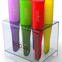 Popze IcePopIt Premium Popsicle Ice Pop Molds with Elegant Stand - Gift Giving Designer Box - 6 Silicone Dessert Treat Molds 100% BPA-free FDA Approved...