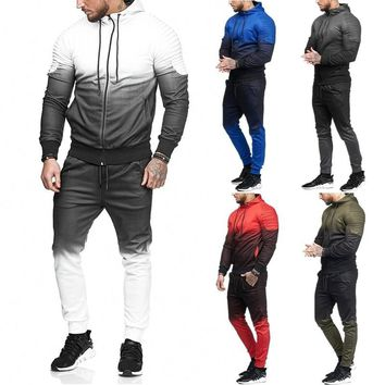 2018 European and American New Casual Men's set Tracksuit Outwear sporting track suit male Fitness Long sleeve Sweatshirts Pants