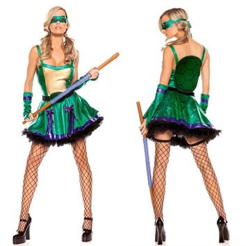 Women Ninja Turtle Costume Sexy Green Sleeveless Mini Dress Halloween Cosplay Party Fance Dresses